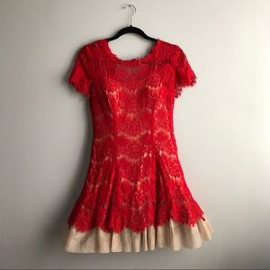 Betsy & Adam red lace and nude tulle sz 2